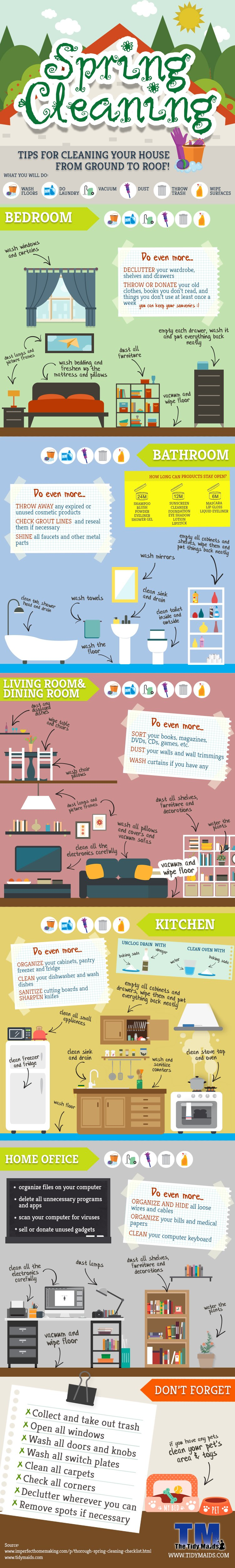 Spring cleaning tips and tricks from The Tidy Maids! https://www.thetidymaids.com/infographic-spring-cleaning-tips-and-tricks/